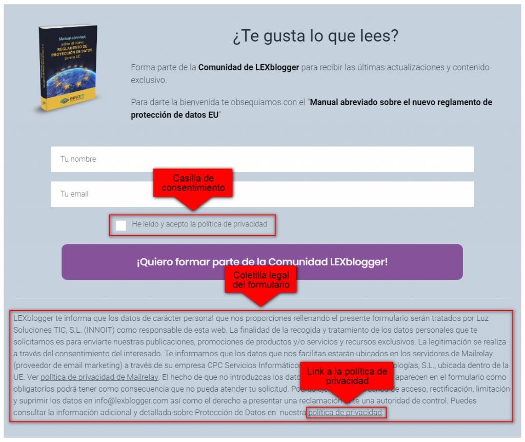 formulario de captacion de emails adaptado al nuevo reglamento europeo de proteccion de datos