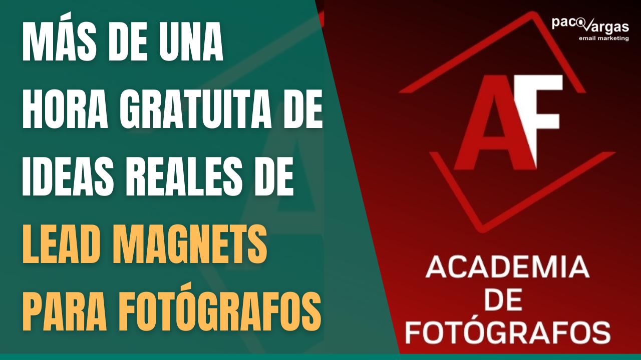 Más de una hora gratuita de ideas reales de lead magnets para fotógrafos
